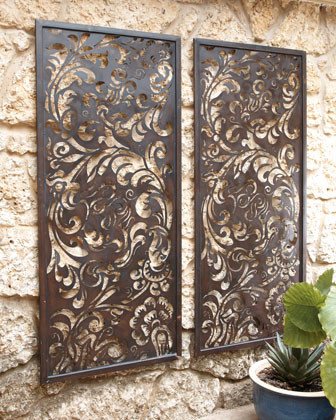 Floral laser cut wall decor traditional outdoor decor for Outside wall art