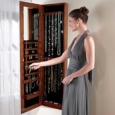 Mirrored Wall Mounted Jewelry Armoire contemporary-storage-units-and ...