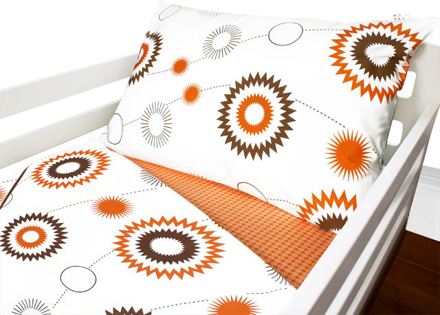 Orange and Brown Sunburst Toddler Quilt and Pillowcase contemporary-kids-bedding