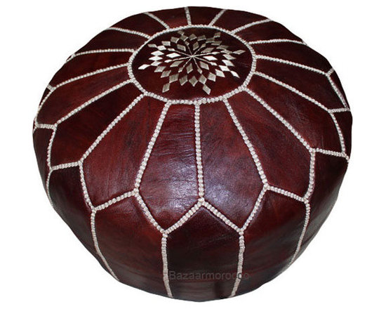 Moroccan Leather Pouf Brown -