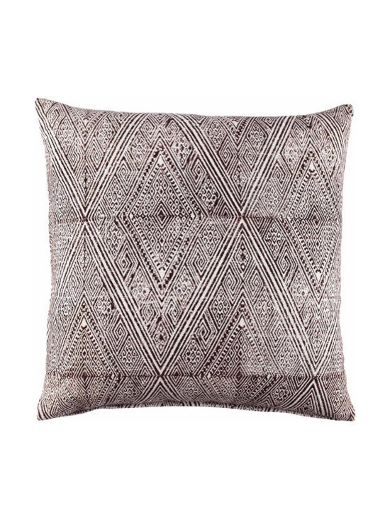 """John Robshaw - Russet Euro design by John Robshaw. """"I started using this heavier woven cotton to print rugs on. Then it came to me that it would be great for rough casual pillows to throw around outside. The rough cotton takes the block and dye reluctantly, creating a layered print."""" - John Robsaw"""