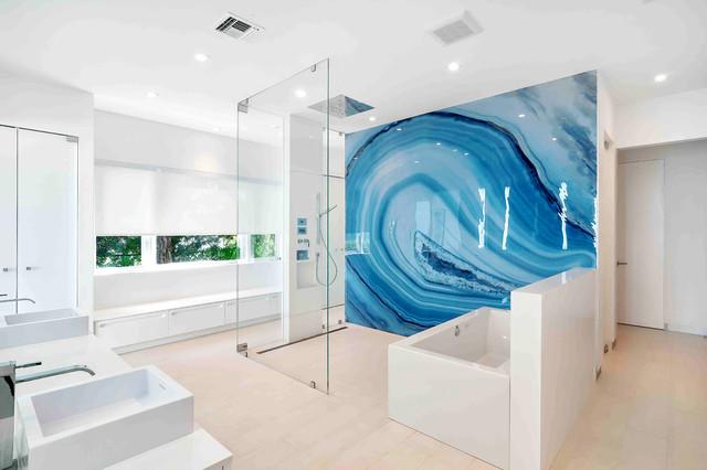 Blue Agate bathroom wall - Modern - miami - by ALEX TURCO Art Designer