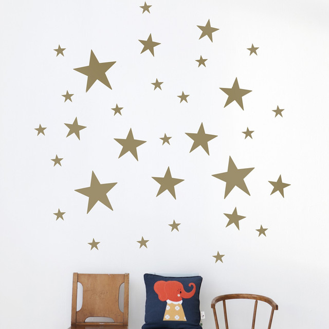 stars kids wall sticker in gold modern wall decals by rosenberry rooms. Black Bedroom Furniture Sets. Home Design Ideas