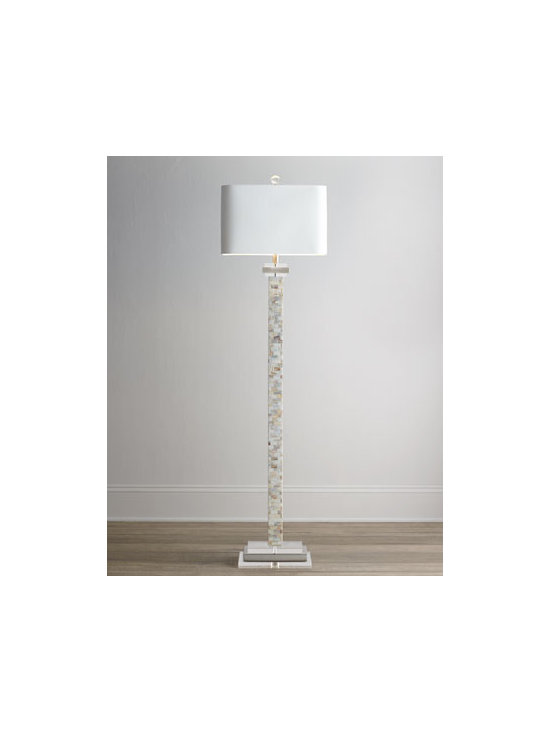 Horchow - Mother-of-Pearl Floor Lamp - Exclusively ours. Decorating on the natural side—this lean floor lamp is tall on style and texture. Handcrafted. Center column made of oyster mother-of-pearl tiles. Base made of alternating rectangles of clear acrylic and brushed steel. Lin...