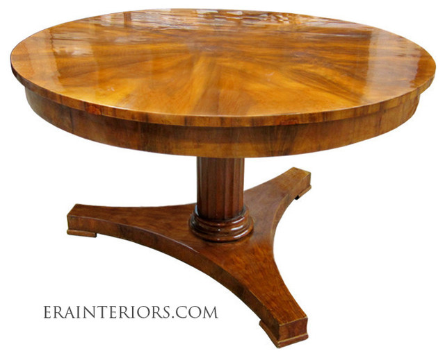 Biedermeier round center table with platform base for Traditional dining table bases
