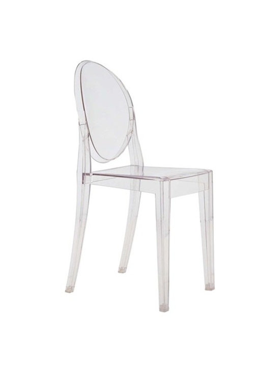 Lemoderno - Side Chair by Lamoderno, Clear - In spite of the evanescent and crystalline impression, strong resistant to blows, scratch-proof and weatherproof; as many as six pieces can be piled up. With a strongly charismatic character and outstanding aesthetic appeal, this chair fits perfectly into every home or public area with elegance and irony. This item is a high quality reproduction of the original.