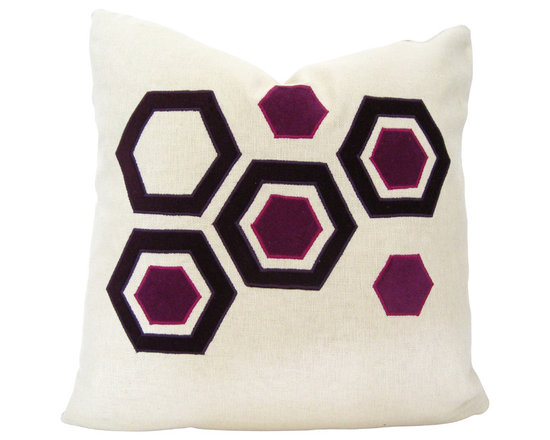 Therese Marie Designs - Hexagon Pillow - Pink Velvet Applique Pillow - Pink and purple velvet hexagons are hand-cut and appliqued onto a square of ecru linen. Fabrics used are all medium weight giving this pillow a substantial feel. *For a 20-inch insert*.