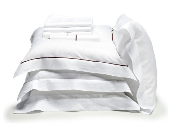 Libeco - Classics Bridgewater Collection - Flat Sheet, White-Light Grey, Full / Queen - Ultra - elegant, Libeco's Bridgewater collection is composed of classic white sheets, pillow cases and shams trimmed in your choice of either Light Grey or Cafenoir.
