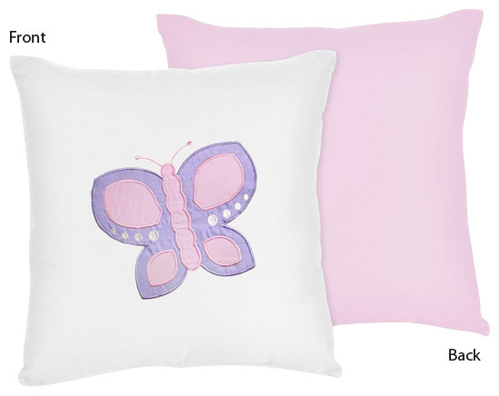 Butterfly Pink & Lavender Decorative Accent Throw Pillow by Sweet Jojo Designs traditional-kids-bedding