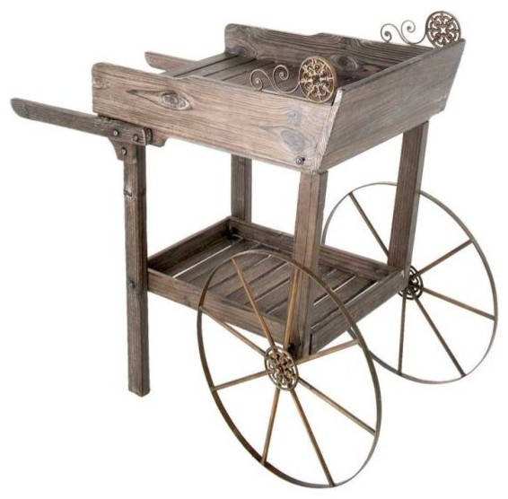 Wooden Rolling Garden Potting Cart traditional-outdoor-planters