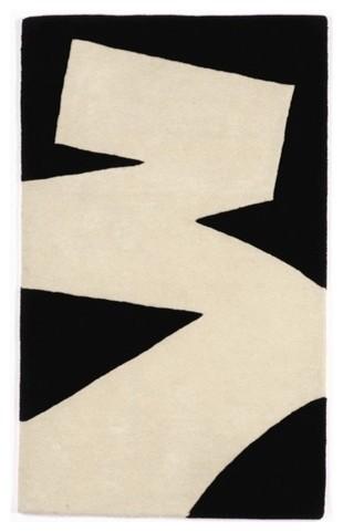 Brush Stroke White/Black Rug modern-rugs