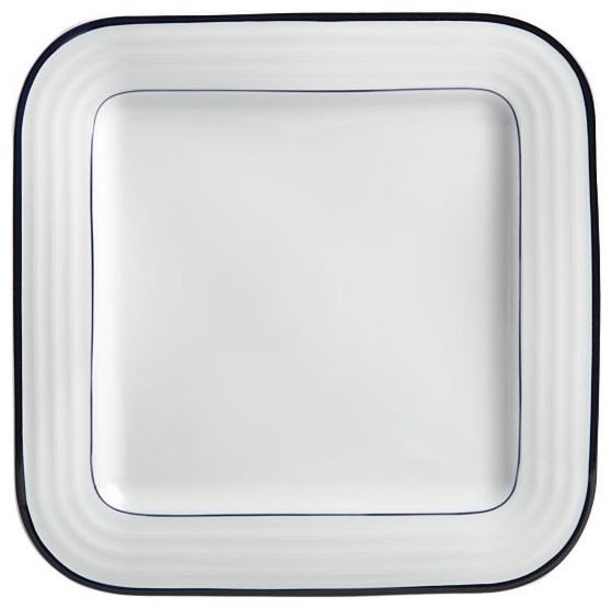 Roulette Blue Band Square Dinner Plate modern dinnerware
