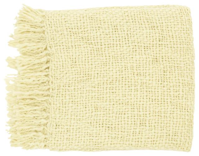 Surya Tobias Ivory Throw Blanket contemporary-throws