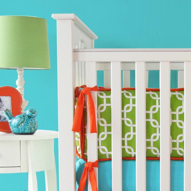 Bright Baby Green Crib Bumper modern-cribs