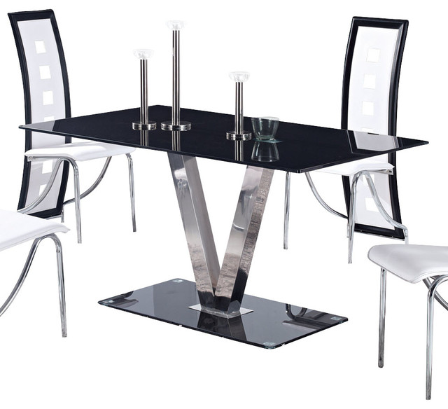 Global Furniture USA 551DT Black Glass Dining Table with  : traditional furniture from www.houzz.com size 640 x 584 jpeg 61kB
