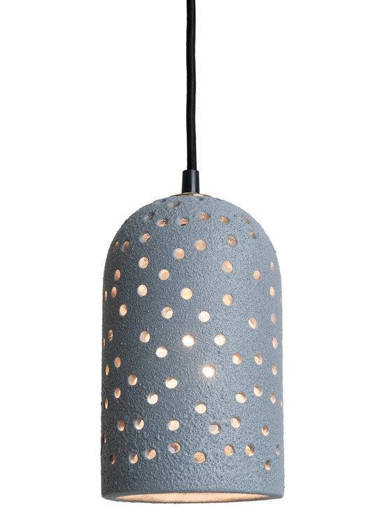 Slate Grey Lava Brute Pendants - Brute Pendants are inescapable and warm. The randomly punched holes and unique surface texture will delight you. Our new lava, rust and metallic glazes are earthy and complex. The rich glow of the nostalgic bulb creates a perfect mood. Pair them together or hang them in a group.
