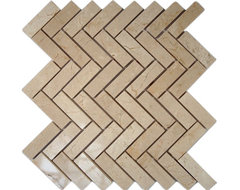 Crema Marfil Herringbone Marble Mosaic Tiles contemporary bathroom tile