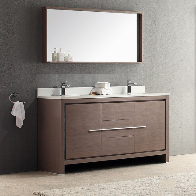 fresca allier 60 inch grey oak modern double sink bathroom vanity with