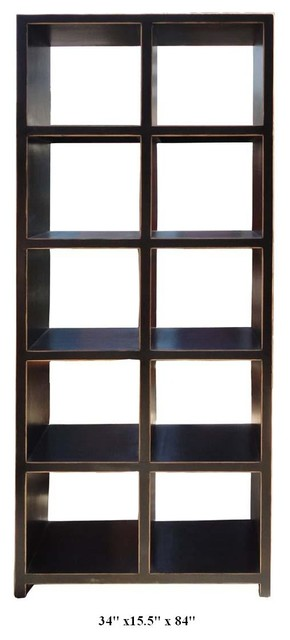 Rustic Black Color Solid Wood Tall Display Shelf / Cabinet