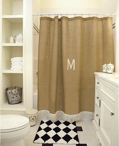 Burlap shower curtain with bullion fringe traditional shower
