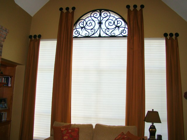 Custom Drapery & Tableaux Faux Iron eclectic window treatments