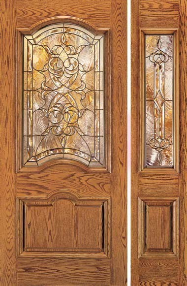 Jeld wen a401 oak woodgrain door and sidelights cashmere - Jeld wen exterior doors with sidelights ...