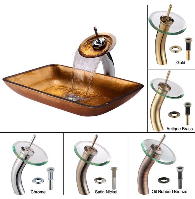 Kraus Golden Pearl Rectangular Glass Vessel Sink and Waterfall Faucet Chrome modern-bathroom-sinks