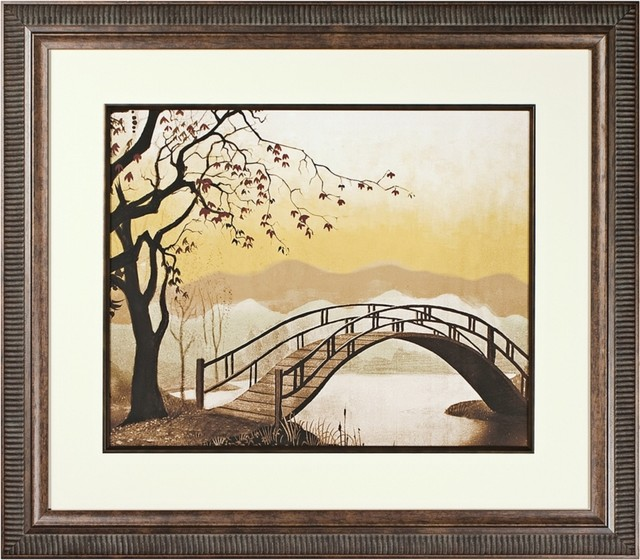 Traditional Walt Disney Lady and the Tramp Bridge Print Framed Wall Art traditional-artwork