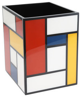 Pacific Connections Mondrian Waste Basket modern waste baskets