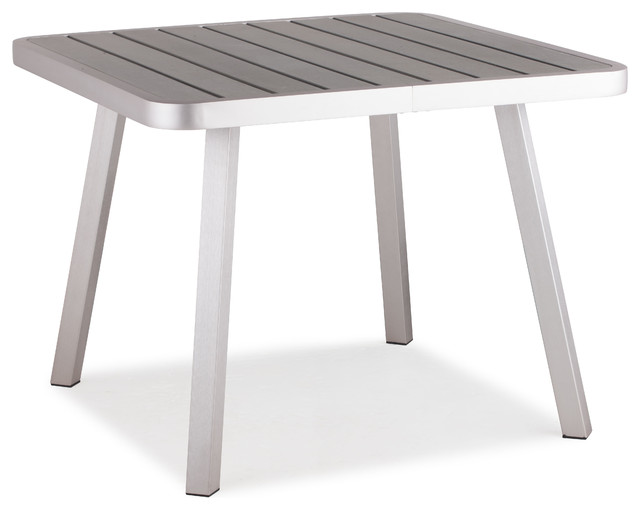 Township Square Dining Table Brushed Aluminum contemporary-outdoor-dining-tables