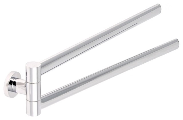 Stylish Modern 17 Inch Chrome Double Swivel Towel Bar By