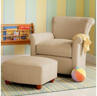 Tan Upholstered Swivel Rocking Glider Chair contemporary-gliders