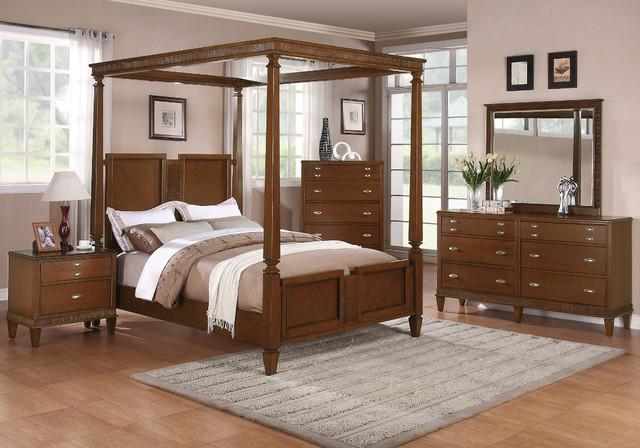 Jayden 5Pc California King Canopy Bedroom Set In Light Cherry Finish Modern