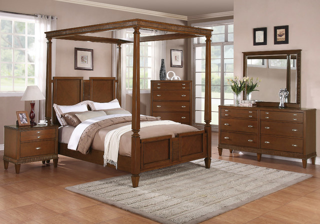 jayden 5pc california king canopy bedroom set in light cherry finish