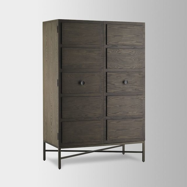 paneled armoire modern armoires and wardrobes by west elm. Black Bedroom Furniture Sets. Home Design Ideas