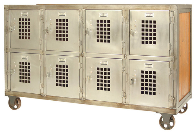 Vintage Bank of industrial Steel Lockers on Casters - Eclectic - Side Tables And End Tables ...