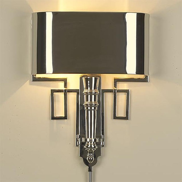 Global Views Torch Sconce with Shade-Nickel - traditional - wall ...