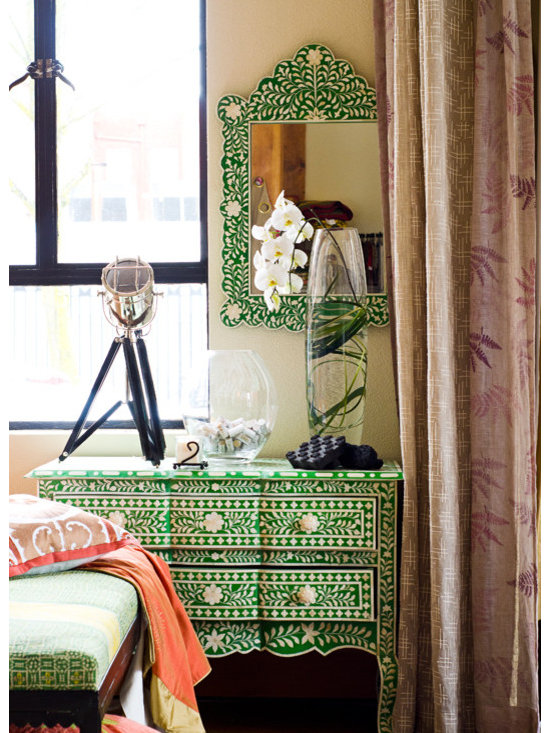 Filling Spaces - Green Inlay Dresser Only - Bone inlay dresser with 3 pull drawers