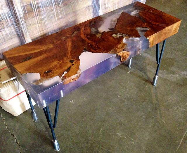 Reclaimed Teak and Resin Bench on Steel Hairpin Legs ...