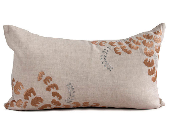 Kathy Kuo Home - Orono Natural Taupe Rectangular Pillow - Hand embroidered pillows in linen and silk are sumptuously oversized and generously filled with down and feathers - tossed on a bed or a gathered on a sofa, create a lasting personal touch.