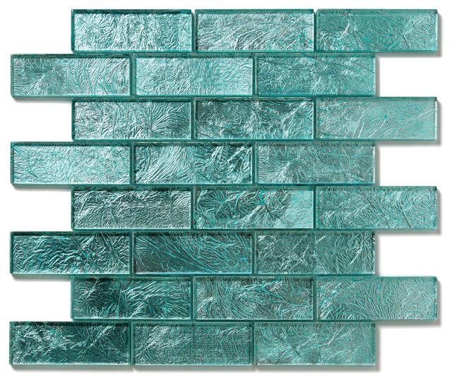 Juniper Uniform Brick Blue Folia Brick Glossy Glass modern-tile