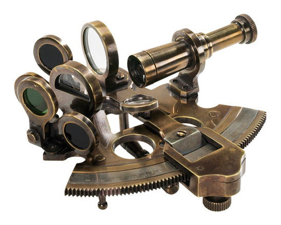"""Inviting Home - Pocket Sextant - socket sextant; 4-3/8"""" x 4-3/8"""" x 2-1/8"""" Charming pocket sextant as used by Victorian explorers and surveyors. Intricate and semi-functional sextant has all the pieces needed to shoot the sun. A sextant defined latitude. A clock longitude. Defining the angle of Sun and Stars with the horizon was an important way to navigate and survey. A beautiful intricate little instrument with an interesting and ancient history"""