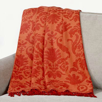 Orange/Red Damask Throw modern-throws