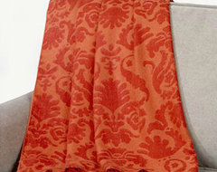 Orange/Red Damask Throw modern throws