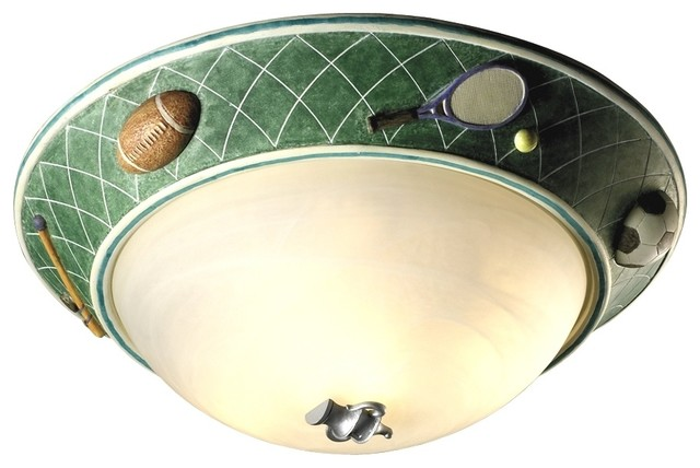 glow in the sports 17 quot wide ceiling light fixture