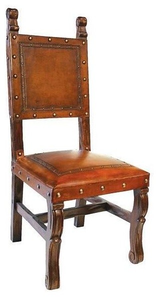 Spanish Heritage Armless Leather Dining Chair Antique