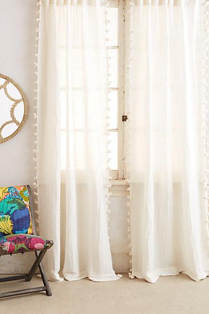 Pom tassel curtain cream contemporary curtains by anthropologie