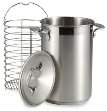 All-Clad Stainless Steel Covered Asparagus Pot With Basket contemporary-specialty-cookware