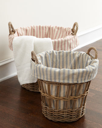French Laundry Home Large Laundry Basket with Ticking-Stripe Liner traditional-hampers