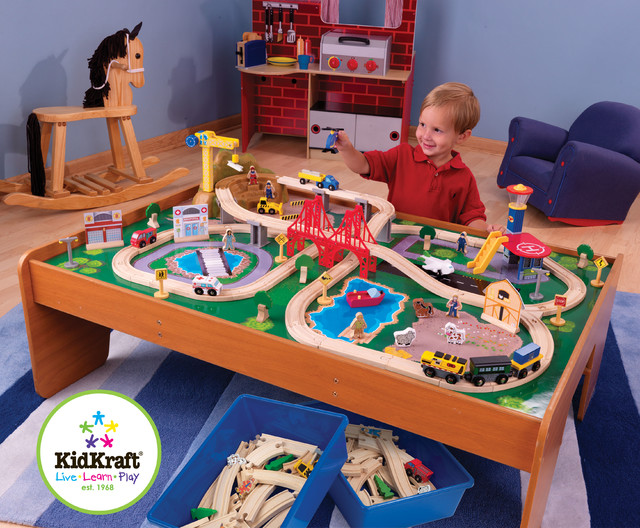 kids toy train kidkraft ride around town train set with table from vistastores traditional. Black Bedroom Furniture Sets. Home Design Ideas